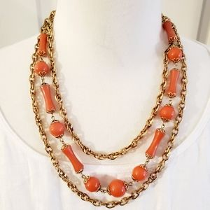 VTG Coral Flax Beads Gold Tone Chain Necklace